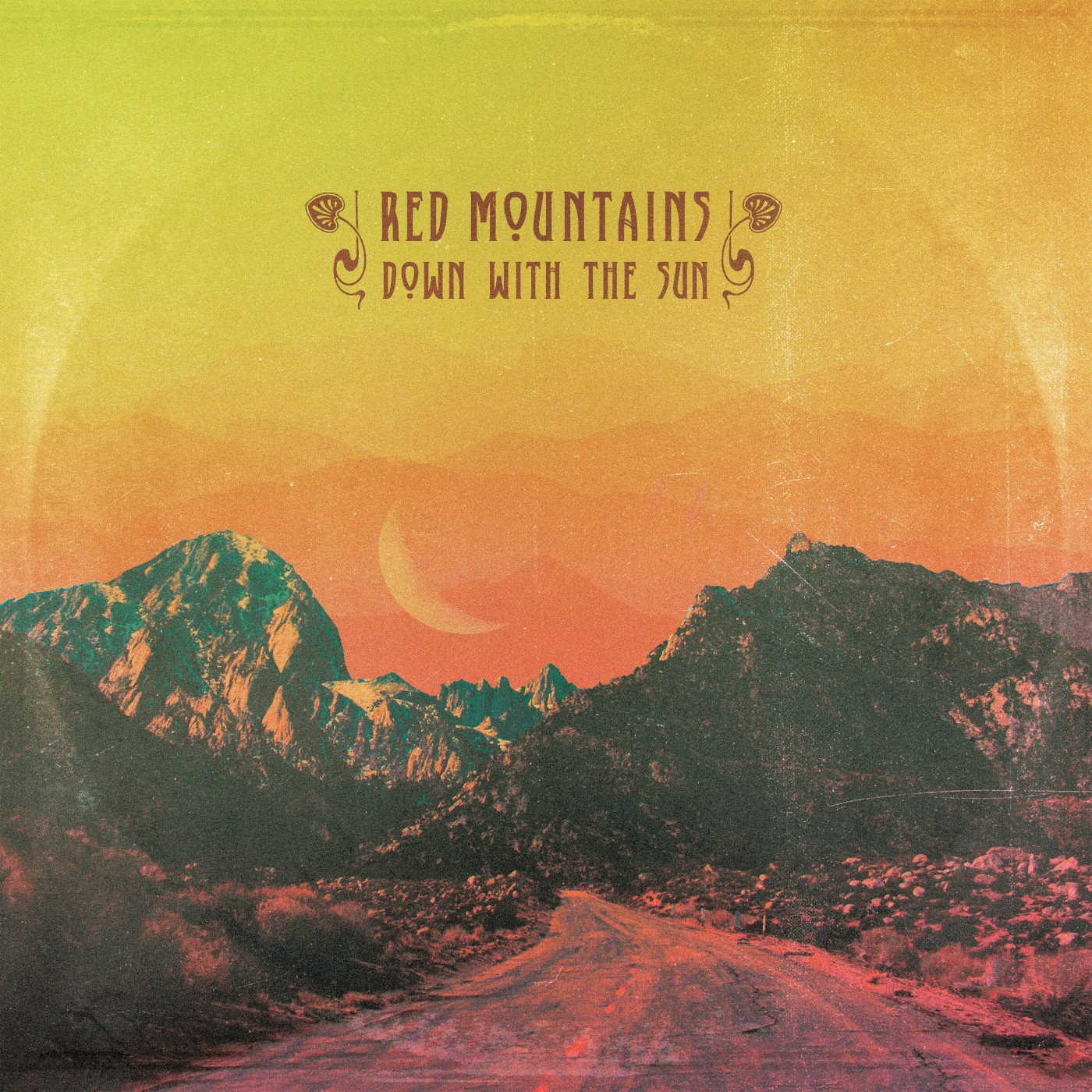 red mountains down with the sun