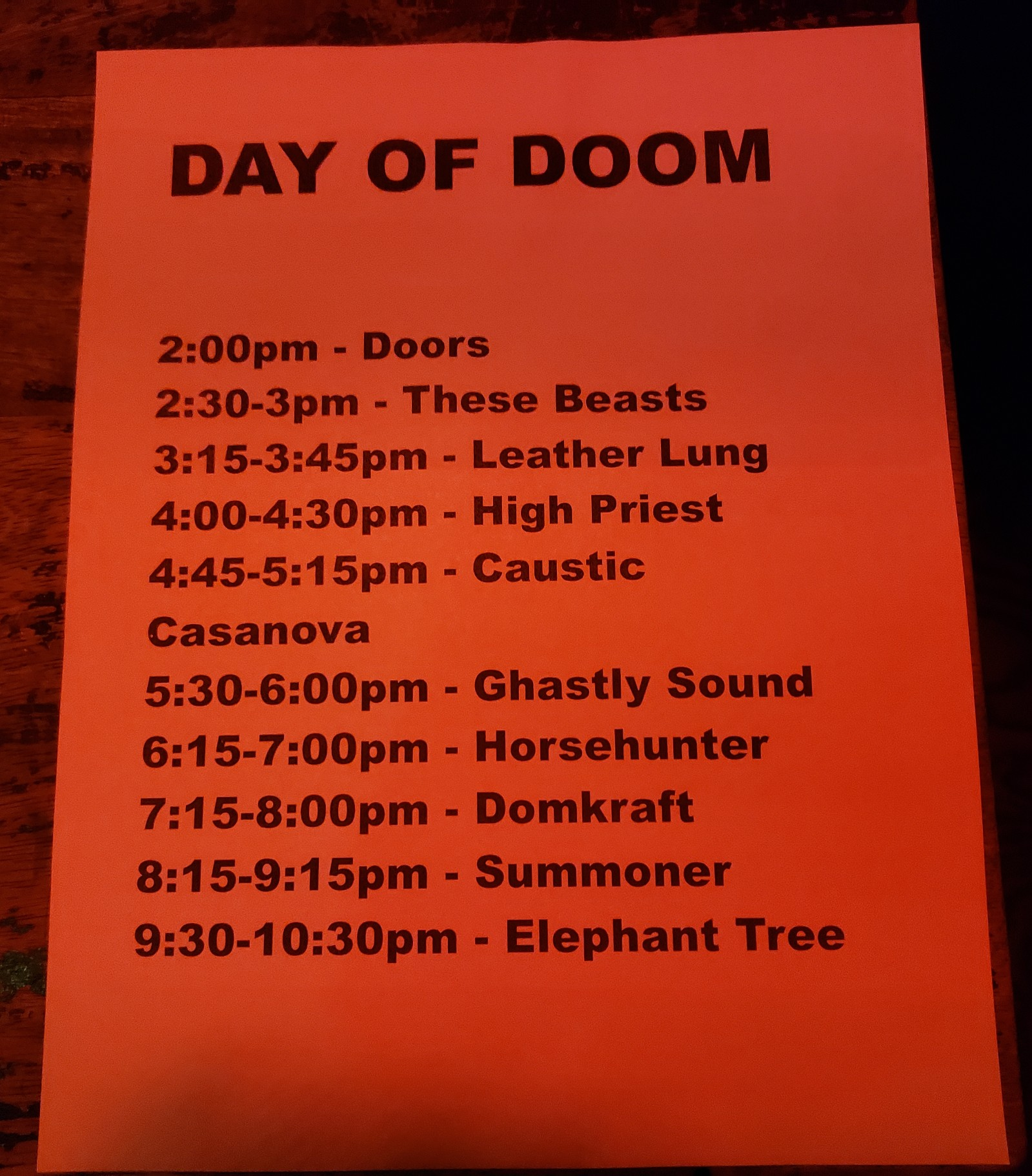 DAY OF DOOM SCHEDULE
