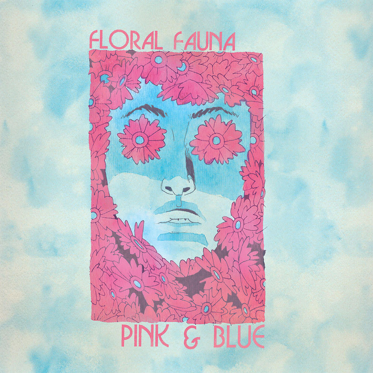 floral fauna pink and blue