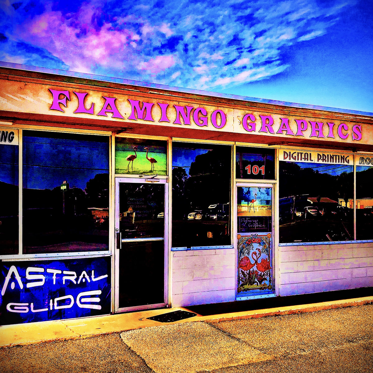 astral glide flamingo graphics