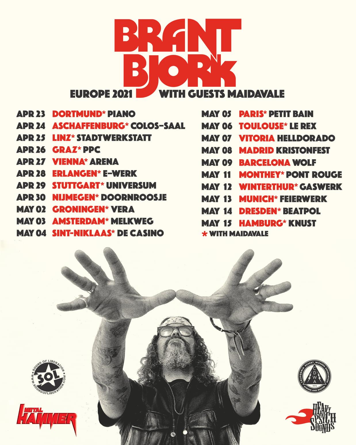 brant bjork euro tour spring 2021